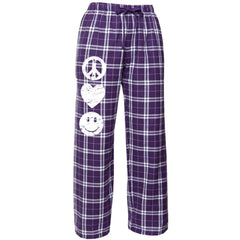 Flannel Peace Heart Smile Pants