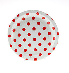 "7"" Round Cake Plates- Red Dot on White"