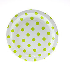 "7"" Round Cake Plates- Lime Dot on White"