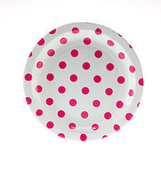"7"" Round Cake Plates- Hot Pink Dot on White"