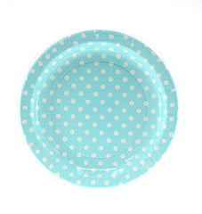"9"" Round Plates- White Dot on Light Blue"
