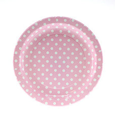 "9"" Round Plates- White Dot on Pink"