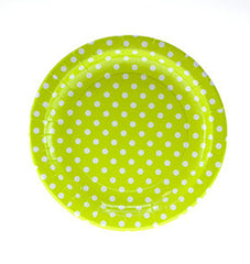"9"" Round Plates- White Dot on Lime"