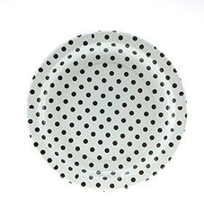 "9"" Round Plates- Black Dot on White"