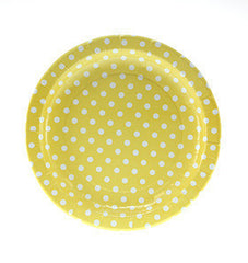 "9"" Round Plates- White Dot on Yellow"
