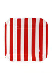 "7"" Square Plates- Red Stripe"