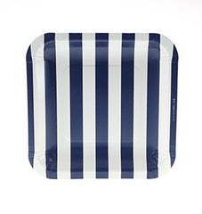 "7"" Square Plates- Navy Stripe"