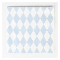 Paper Party Napkins- Light Blue Diamonds