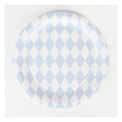 "9"" Round Plates- Light Blue Diamonds"