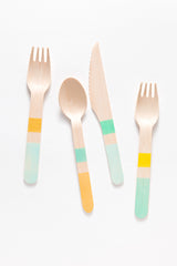 Blues Colorblock Wooden Utensils