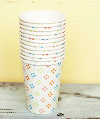 Party Cups- White with Rainbow Polka Dots