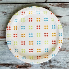 "9"" Round Plates- White with Rainbow Polka Dots"