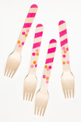 Pink Dots and Stripes Wooden Utensils