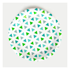 "9"" Round Plates- Green Triangles"