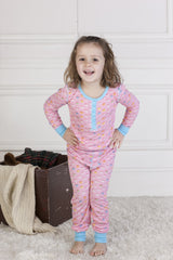 Candy Hearts Rib Long John PJs Set