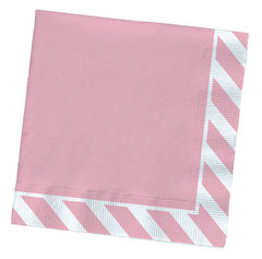 Paper Party Napkins- Pink Striped Edge