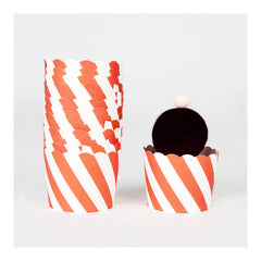 Orange Striped Cupcake Liners