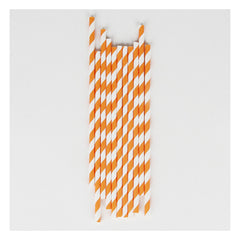 Paper Party Straws- Orange Stripe
