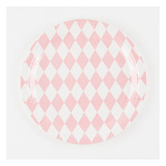 "9"" Round Plates- Light Pink Diamonds"