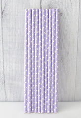 Paper Party Straws- Lavender Polka Dot