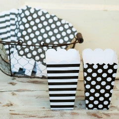 Black Dots and Stripes Popcorn Boxes