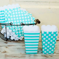 Mint Dots and Stripes Popcorn Boxes