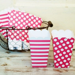 Hot Pink Dots and Stripes Popcorn Boxes