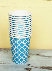 Party Cups- Blue Quatrefoil