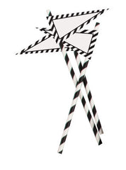 Paper Party Straws with Banner- Black Stripe