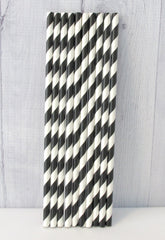 Paper Party Straws- Black Stripe