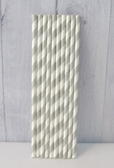 Paper Party Straws- Grey Stripe