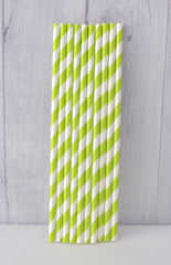 Paper Party Straws- Lime Stripe