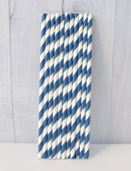 Paper Party Straws- Navy Stripe