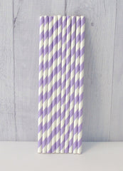 Paper Party Straws- Lavender Stripe