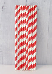 Paper Party Straws- Red Stripe