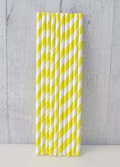 Paper Party Straws- Yellow Stripe