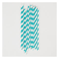 Paper Party Straws- Turquoise Stripe