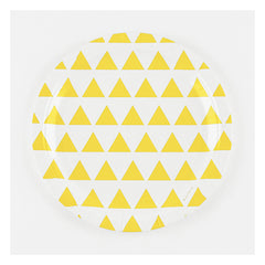 "9"" Round Plates- Yellow Triangles"