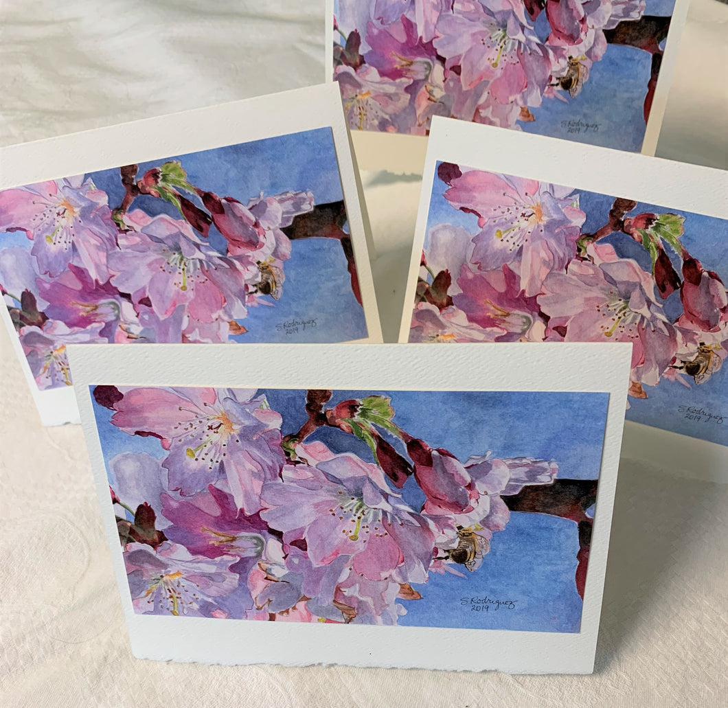 Cherry Blossom and Bee Greeting Card -