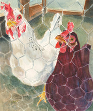 "Load image into Gallery viewer, Chicken Painting, ""All Cooped Up"" Original"