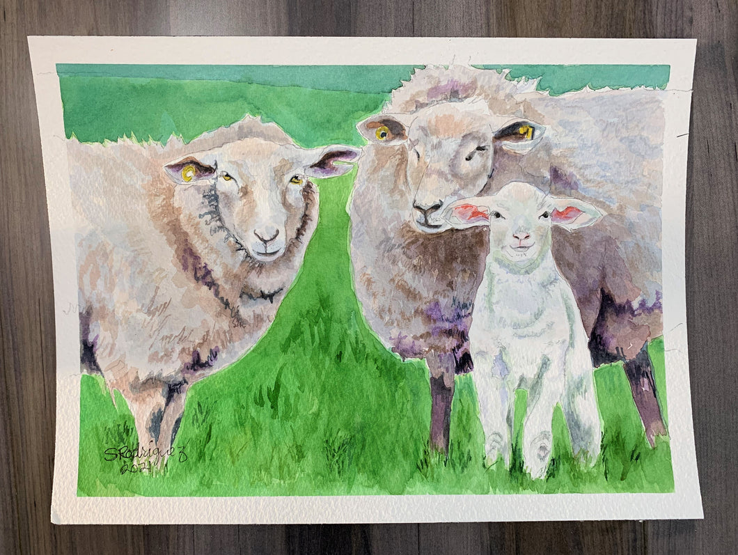 Sheep and Lamb Painting,