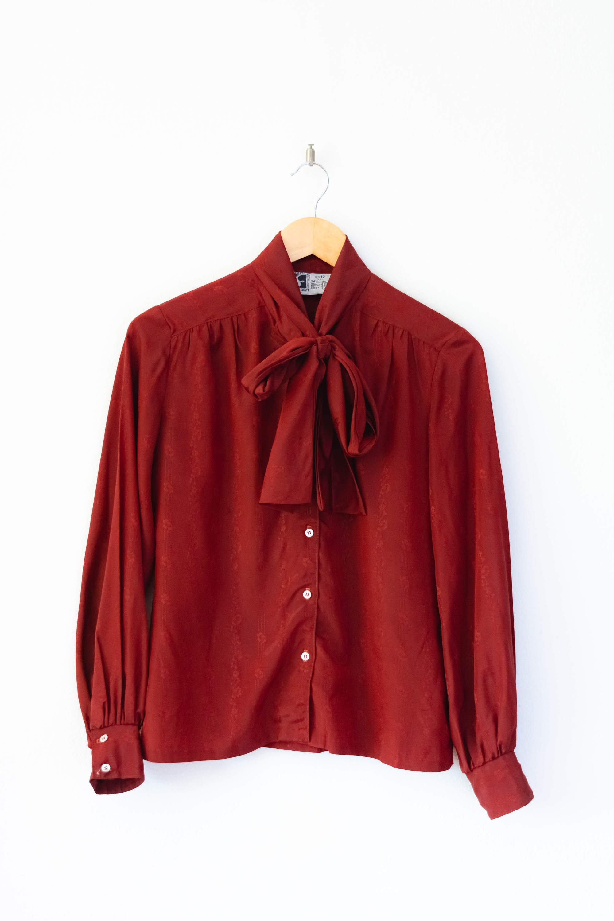 Burgundy Pussy Bow Blouse S