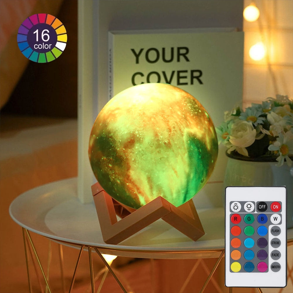 16 colors moon lamp 3D bedside night light