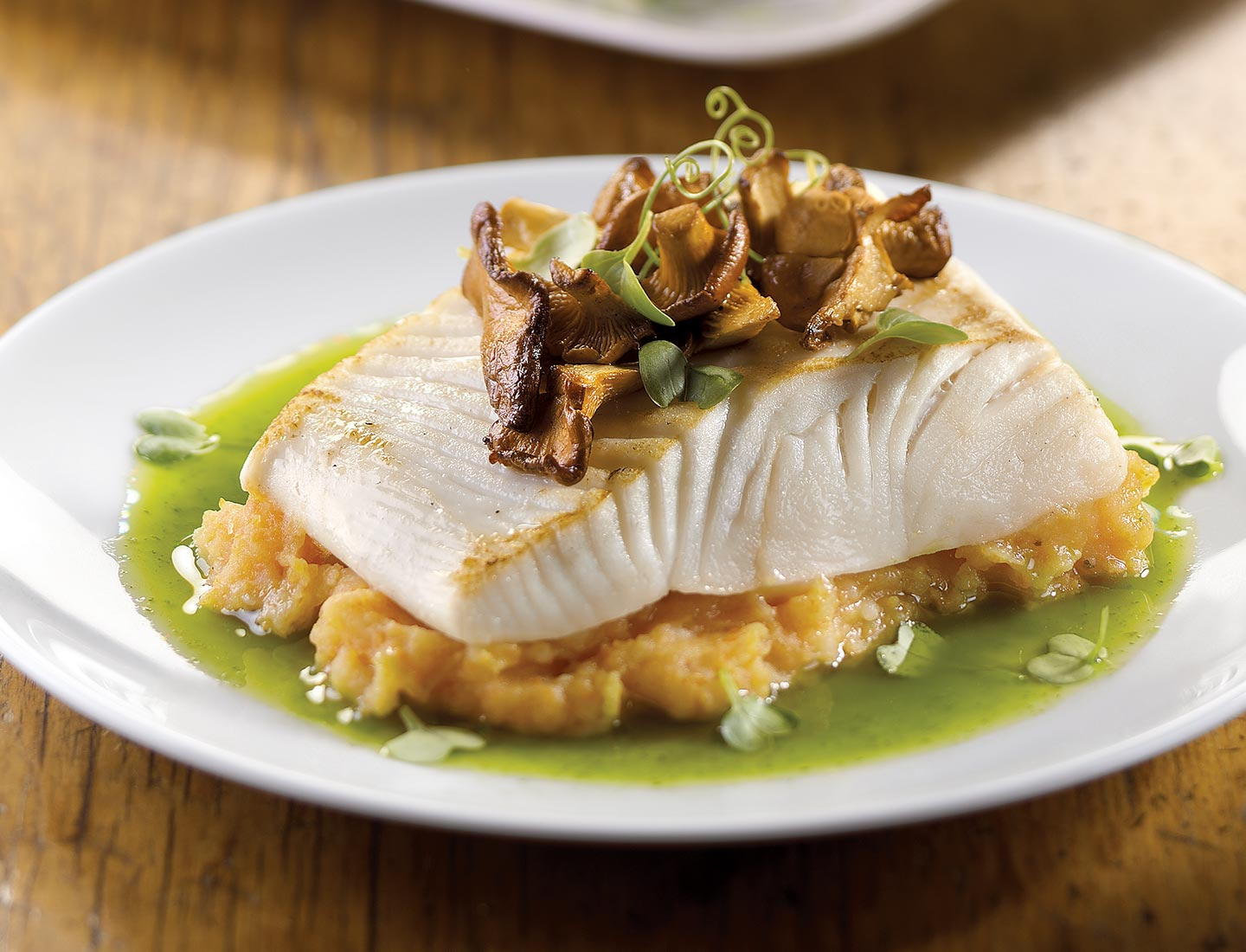 Baked Halibut with Pureed Carrot & Cilantro