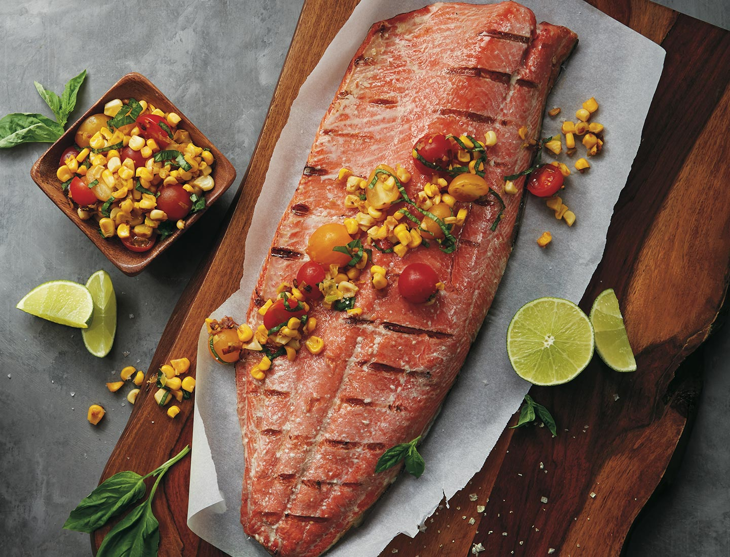 Salmon in Parchment with Sweet Corn, Basil, and Tomatoes