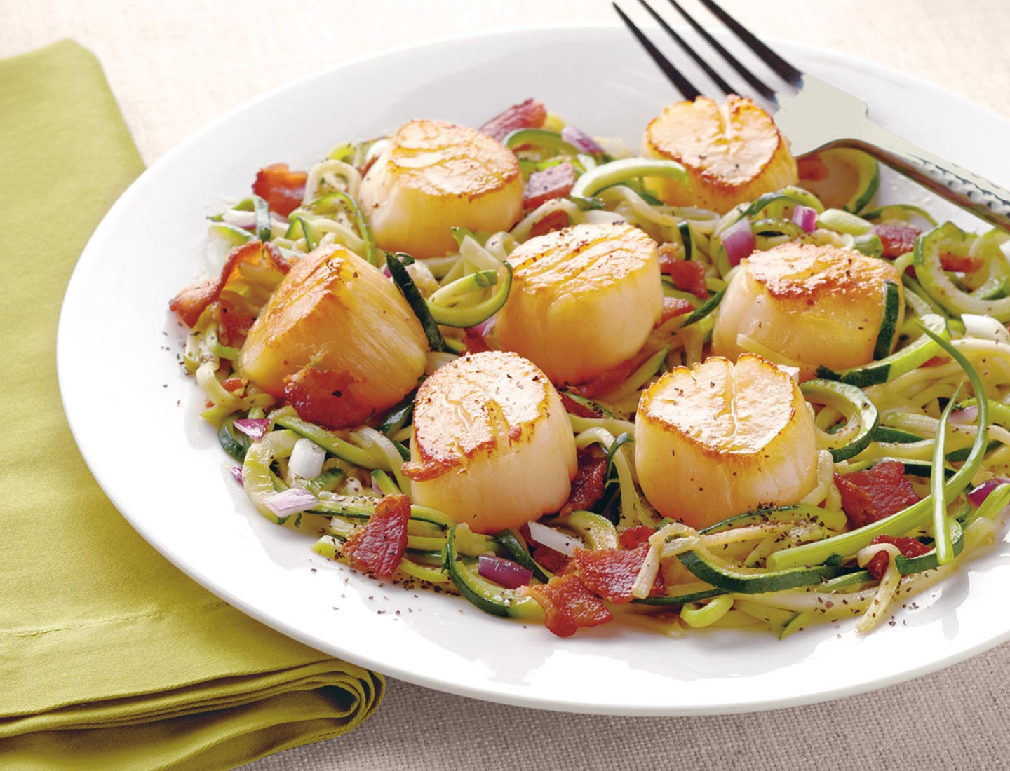 Wild Alaskan Scallops with Zucchini Noodles and Bacon