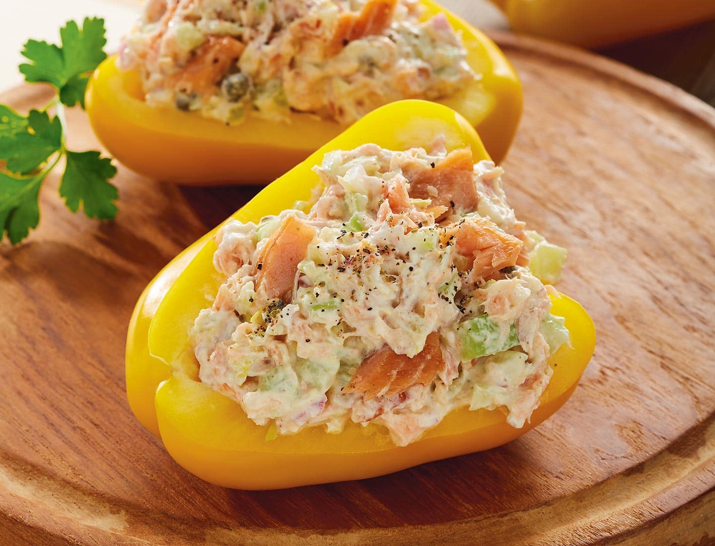 Smoked Salmon Salad in Bell Peppers