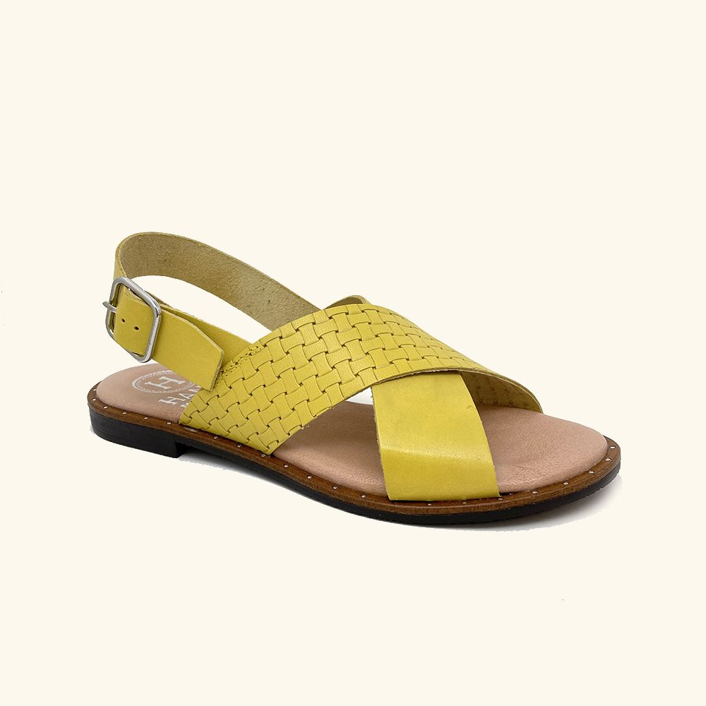Load image into Gallery viewer, Yellow leather Corfu flat sandals