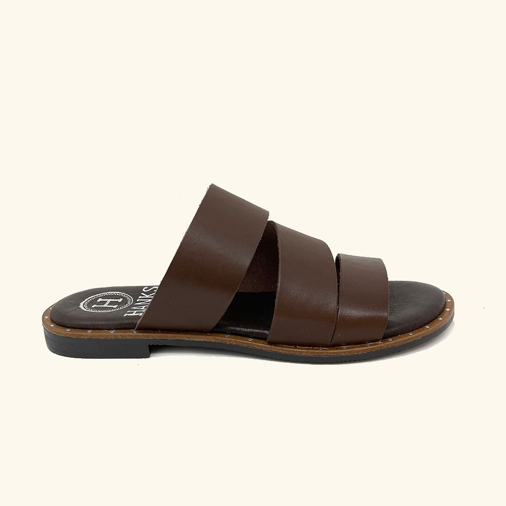 Brown leather Milos flat sandals