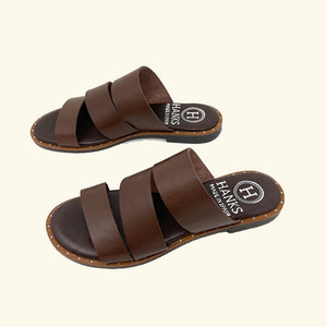 Load image into Gallery viewer, Brown leather Milos flat sandals